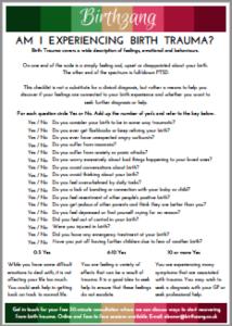 birth trauma checklist